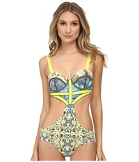 Maaji Diamond Leaf One Piece With Soft Cups And Signature Cut Multi Women's Swimsuits One Piece