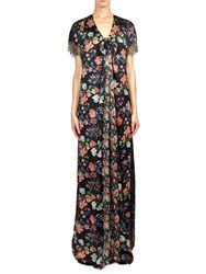 Alexis Mabille Long Dress In Folk Silk With Draped And Knotted Blue