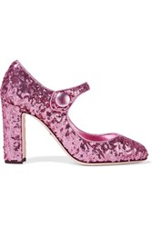 Dolce And Gabbana Sequined Leather Pumps Baby Pink