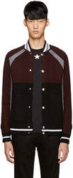 Givenchy Burgundy And Black Wool Cardigan