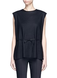 The Row 'Lilly' Drawstring Waist Virgin Wool Blend Sleeveless Top Black