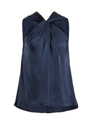 Elizabeth And James Blaine Twisted Front Satin Twill Top Navy