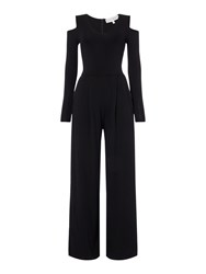 Body Frock Jumpsuit With Cold Shoulder And Wide Leg Black