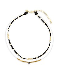 Mhart 2Mm Freshwater Pearl And 18K Yellow Goldplated Sterling Silver Beaded Layered Necklace