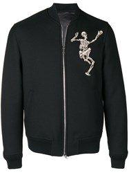 Alexander Mcqueen Dancing Skeleton Bomber Jacket Black