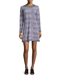 Michael Michael Kors Petite Croco Print Long Sleeve Fit And Flare Dress Navy