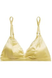Love Stories Darling Lace Trimmed Stretch Satin Soft Cup Triangle Bra Chartreuse