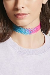 Forever 21 Rainbow Tattoo Choker Hot Pink Multi