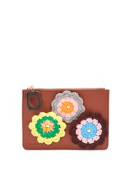 J.W.Anderson Daisies Crochet Leather Pouch Tan Multi