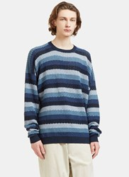 E.Tautz Oversized Striped Crew Neck Knit Sweater Blue