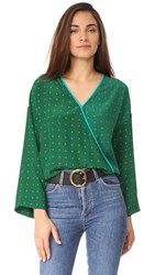 Diane Von Furstenberg Wide Sleeve Cross Over Blouse Arbor Dot Bottle Green Aqua