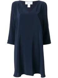Gianluca Capannolo Deep V Neck Dress Blue