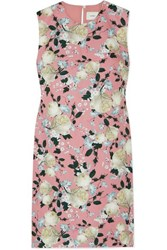 Erdem Rivanna Pleated Floral Print Cotton Drill Dress Pink