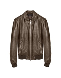 Forzieri Dark Brown Leather Bomber Jacket