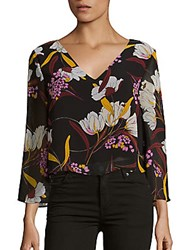 Minkpink Lost In Paradise Floral V Neck Top Multicolor