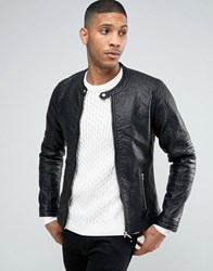 Barney's Barneys Faux Leather Ribbed Biker Jacket Black