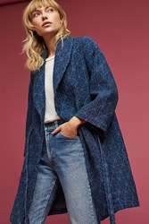Anthropologie Diamond Quilted Wrap Coat Blue