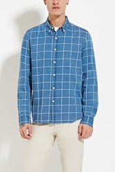 Forever 21 Grid Patterned Shirt Blue White