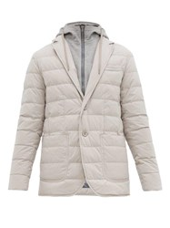 Herno Single Breasted Quilted Down Jacket Beige