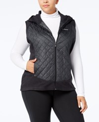 Columbia Plus Size Warmer Days Quilted Hooded Vest Charcoal