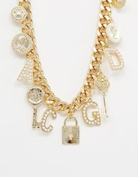 Reclaimed Vintage Inspired Multi Charm And Pearl Necklace Gold