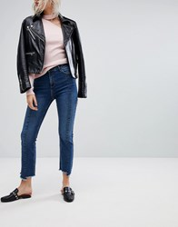 Urban Bliss Cropped Kick Flare Jean With Front Seam And Raw Hem Darkwash Blue