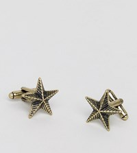 Reclaimed Vintage Inspired Patterened Star Cufflinks In Gold Exclusive To Asos Gold