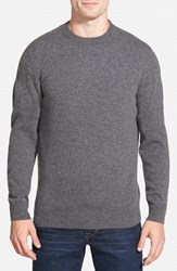 Men's Big And Tall Nordstrom Cashmere Crewneck Sweater Grey Charcoal Heather