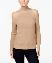 Inc International Concepts Petite Mock Neck Cold Shoulder Sweater Only At Macy's Ginger