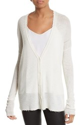 Helmut Lang Women's Frayed Merino Wool Cardigan White