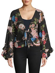Haute Rogue Bell Sleeve Floral Wrap Top Multi