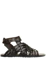 Pollini By Nicholas Kirkwood Woven Leather Gladiator Sandals Dark Brown