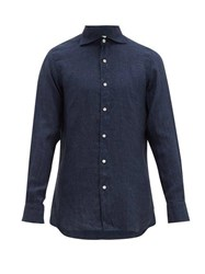 Finamore 1925 Gaeta Tailored Slubbed Linen Chambray Shirt Indigo