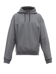 Martine Rose Logo Embroidered Cotton Hooded Sweatshirt Grey