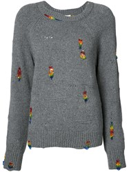 Marc Jacobs Embroidered Sweater Women Plastic Polyester Cashmere Wool S Grey