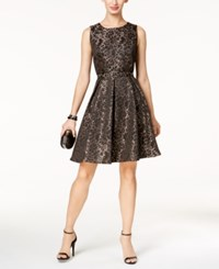 Nine West Lace Jacquard Fit And Flare Dress Black Cameo Multi
