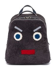 Fendi Faces Shearling Backpack Dark Grey