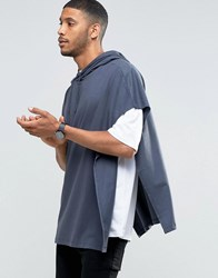 Asos Super Oversized Hooded T Shirt Cape In Blue Ebony Grey