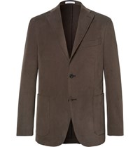 Boglioli Brown Slim Fit Brushed Stretch Cotton Twill Suit Jacket Brown