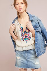 Plenty By Tracy Reese Marlow Embroidered Peasant Top Cream