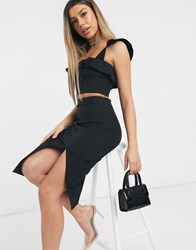 Vesper Crop Top Co Ord In Black