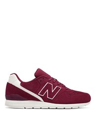 New Balance 696 Perforated Suede Blend Sneakers Burgundy