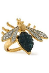 Kenneth Jay Lane Gold Tone Crystal And Stone Ring Gold