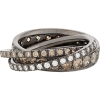 Roberto Marroni Brown Diamond White Diamond And Oxidized White Gold Triple Ring