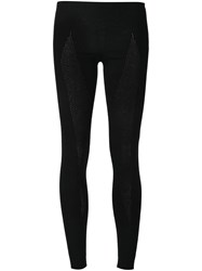 Boris Bidjan Saberi Perforated Panel Knit Leggings Black