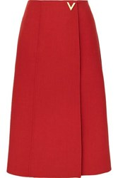 Valentino Embellished Wool Wrap Skirt Red