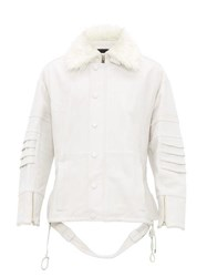 Ambush Faux Fur Collar Leather Jacket White