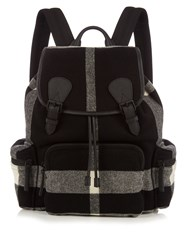 Burberry Checked Wool Blend Felt Backpack Black Multi