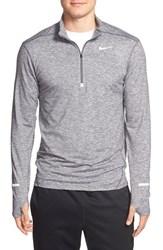 Nike Men's 'Element' Dri Fit Quarter Zip Running Top Dark Grey Silver