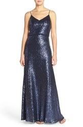 Women's Jenny Yoo 'Jules' Sequin Blouson Gown With Detachable Back Cowl Navy